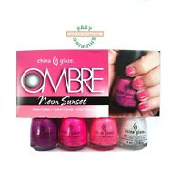 China Glaze Nail Polish Ombre Neon Sunset 4 Pc + Sponges Fast Shipping