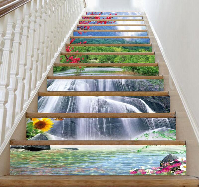 3D Sunflower Waterfall 32 Risers Decoration Photo Mural Vinyl Decal Wallpaper CA