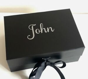 Image Is Loading A5 DEEP BLACK PERSONALISED GIFT BOX VALENTINES WEDDING