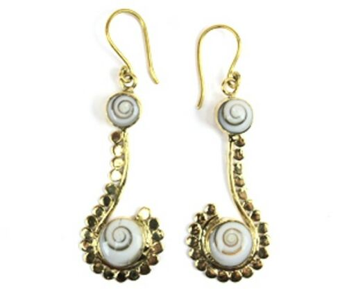 Spiral Earring Dangle Drop Shiva Eye Ocean Sea Shell Gold Brass Tribal Ornament