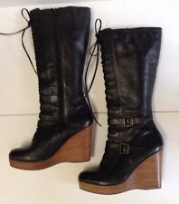 Women's Steve Madden CHAMMP Black Leather Platform Wedge High Boot - Size 10M