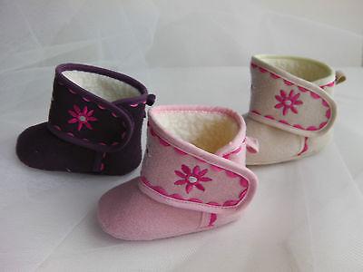 Entusiasta Baby Girl Pre-walker Morbida Suola Comoda Boot-embroided Motivo Floreale Fodera In Pile-