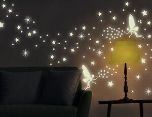 wandtattoo nachtleuchtend nachtw chter leuchtsterne leuchtsticker fee bsm057 ebay. Black Bedroom Furniture Sets. Home Design Ideas