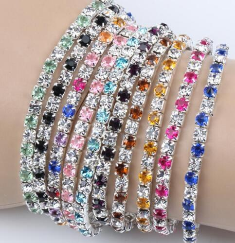 Bracelet Strass Cristal Brillant Elastique 17 Cm Couleur au choix Neuf