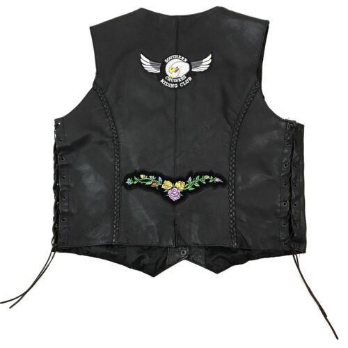 Læder Womens Black Hudson Large Patches Vest Harley Motorcykel dnttHqBY