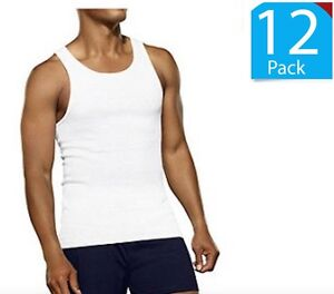 12-PACK-MENS-Fruit-of-the-Loom-100-White-A-SHIRTS-Cotton-Natural-S-M-L-XL