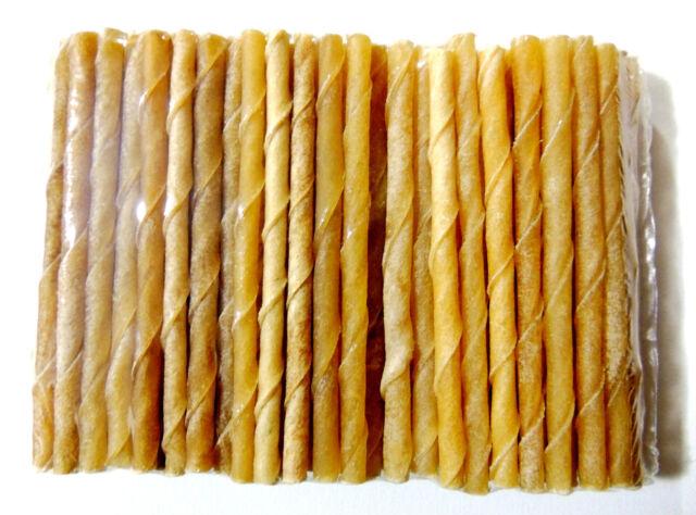 25 Stück Kaustangen 13 cm Ø 9/10 mm gedreht Rinderhaut fettarm Hundefutter Snack