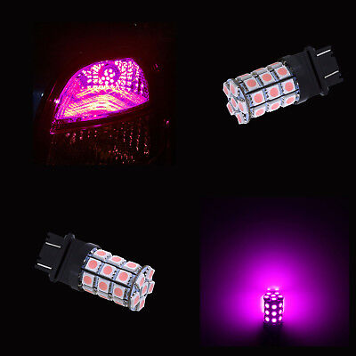 PA 2pcs 3157 3457A 30 5050 SMD LED Auto Tail Rear Side Marker Light Bulbs Pink -12V Purple
