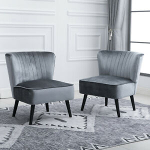 Set 2 Velvet Retro Lounge Tub Accent Chairs Occasional Bedroom Living Room Gray Ebay