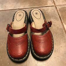 Dr Doc Martens Red Leather Mary Jane Buckle Slide Sandal Shoe Women 6 US / UK 5