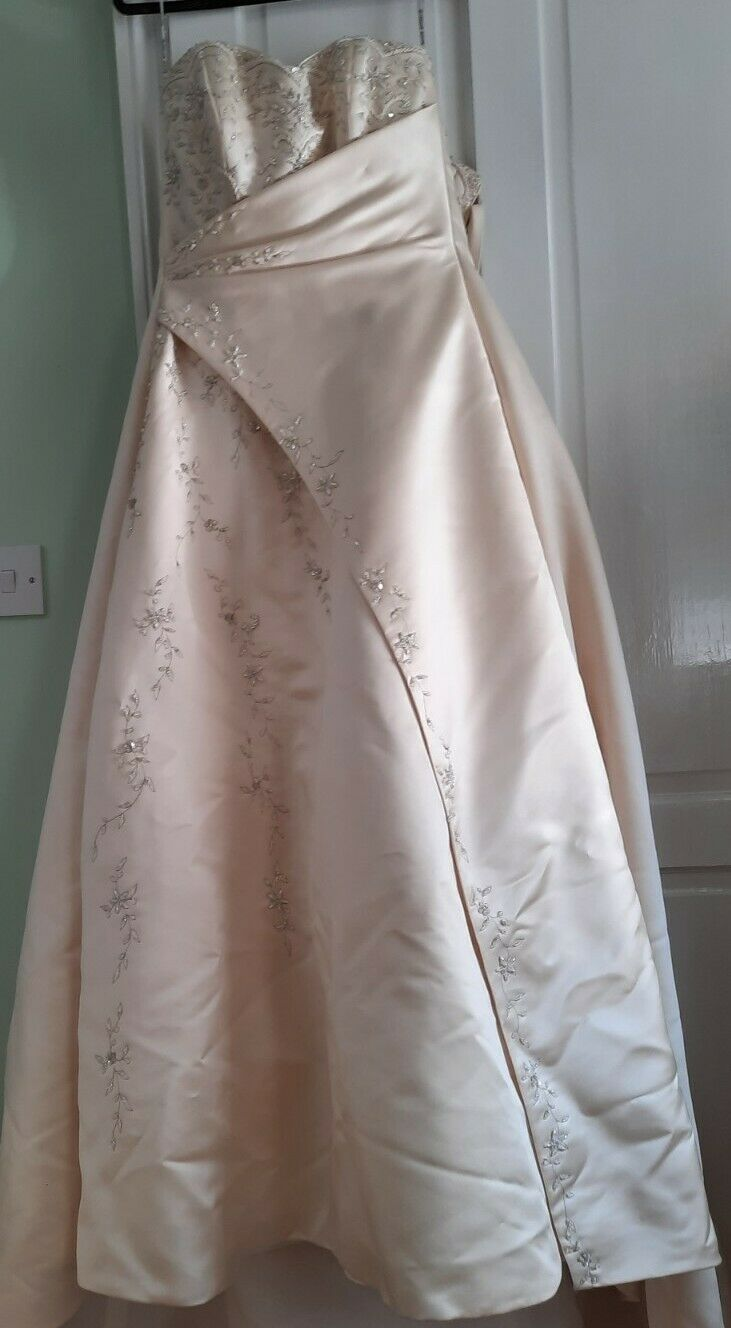 Maggie Sottero couture strapless pale peach satin wedding dress size 12