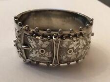 Victorian Sterling Silver Half Engraved Buckle Garter Jarretiere Bangle Bracelet