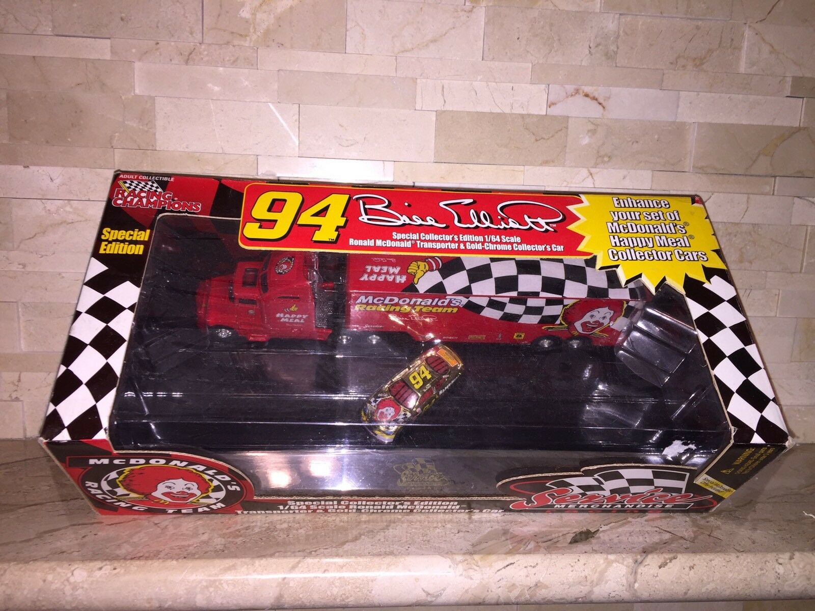 RACING CHAMPIONS BILL ELLIOTT MCDONALDS RACING TEAM TRANSPORTER & gold CHROME