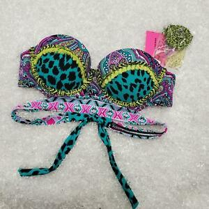 Betsey-Johnson-Swim-Bikini-Top-Push-Up-Strapless-Multiway-Paisley-Size-Small