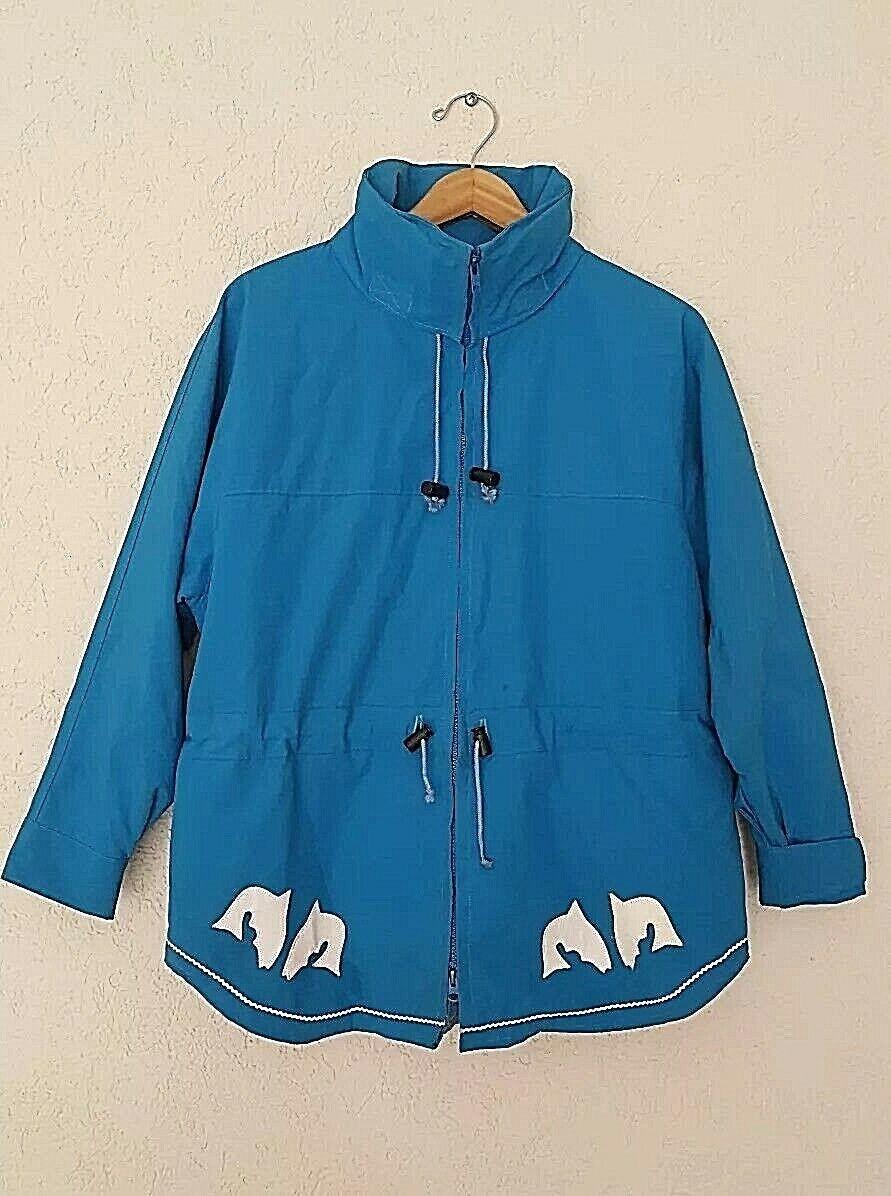 Vtg ORIGINAL YUKON PARKA Eskimo Raincoat Stitched Whale Design Ocean bluee SZ S
