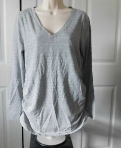 c043955ed2085 Kohls A:GLOW Womens MATERNITY Gray Striped Ruched Sides V-neck Top ...