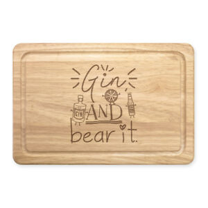 Details about Gin And Bear It Rectangular Wooden Chopping Board - Funny  Grin Joke