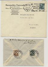 ÖSTERREICH 193. 2Stk. Briefe, WIEN und KIRCHBERG am WAGRAM Stempeln.