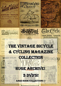 OVER-1-000-ANTIQUE-CYCLING-MAGAZINES-3-DVD-BICYCLE-MOTORCYCLE-PENNY-FARTHING