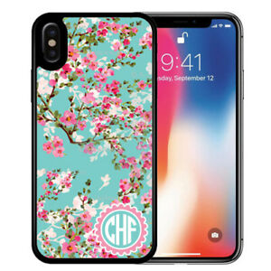 Monogram-Case-Fits-iPhone-XR-XS-MAX-X-8-7-6s-Plus-Teal-Cherry-Blossoms