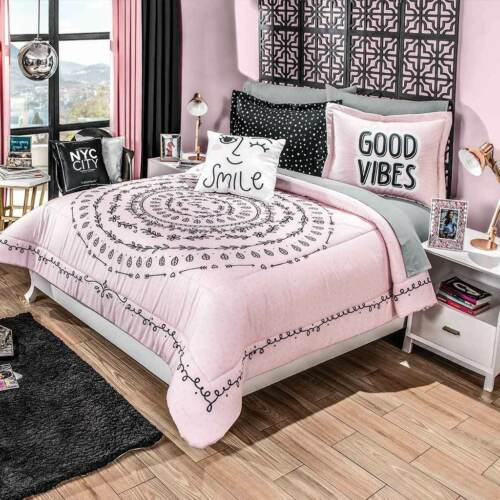 Good Vibes Pink Mandala Reversible Comforter Full Queen Size HD Quality 4PCS