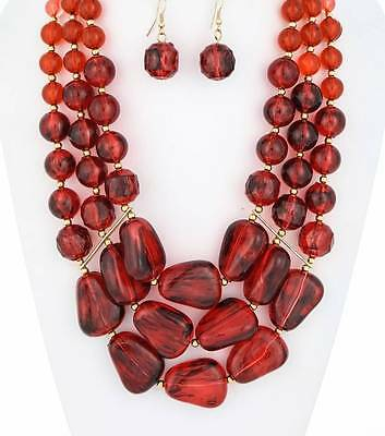 RED LUCITE BEAD GRADUAL GOLD TONE SMALL BEAD CHUNKY NECKLACE EARRING