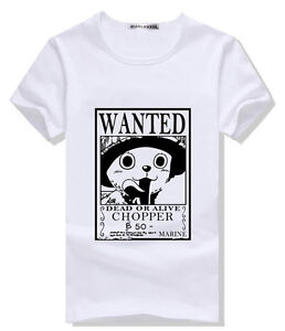 8f0747fa Anime One Piece WANTED Chopper T-Shirt Cosplay Tee Shirts TC Cotton ...