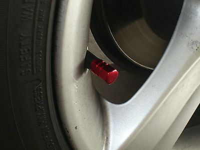 NEW Four 4x RED Aluminum Wheel Rim Tire Valve Stem Caps Dust Cover Cadillac