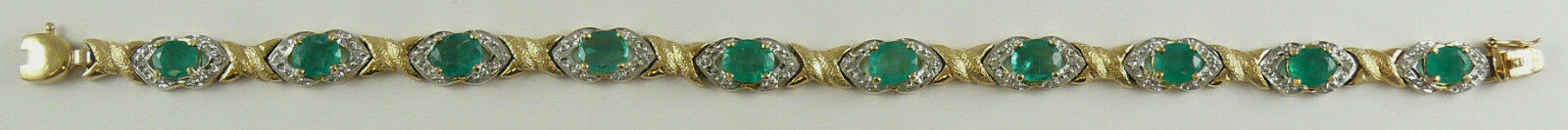 Emerald Bracelet 5.92ct  with Diamonds 0.05ct 14k Yellow gold 7