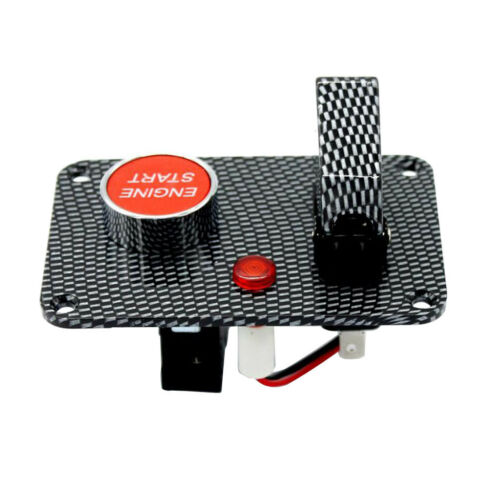 Car Engine Start Push Button Toggle Switch with Cover Carbon Fiber Panel