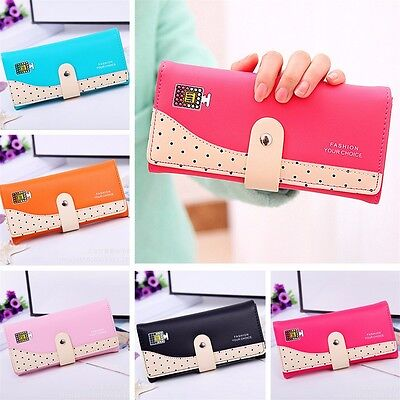 Women Lady Long Dot Leather Wallet Button Clutch Checkbook Card Holder Purse Bag
