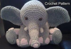 Elephant CROCHET PATTERN Pillow Amigurumi Cushion Toy