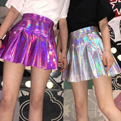 Punk Women Metallic Holographic Short Pleated Skater Mini Dress Suspender Skirt
