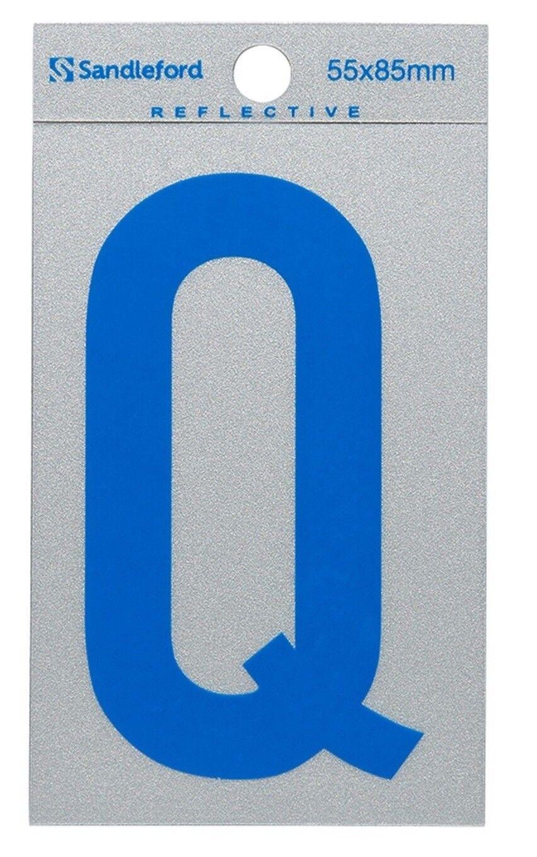 8x Sandleford SELF ADHESIVE Blau REFLECTIVE LETTER  Q  85x55mm Gloss Finish