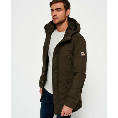 New Mens Superdry Classic Rookie Military Parka Coat Forest Khaki