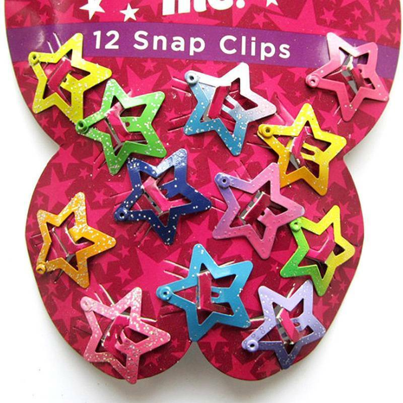 12x Star Butterfly Hair Clips Snaps For Girls Baby Kids Head Accessories