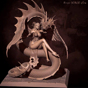 1-24-Scale-75MM-Resin-Figures-Unpainted-Model-Kit-Lady-Snake-Garage-Unassambled