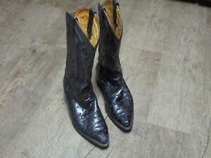 7b71a59e055 Details about Rudel Black Ostrich Skin Cowboy Western Boots Men's Size 8 E  8E