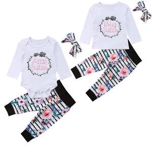 f81d198ee UK Infant Baby Girl Little Big Sister Match Jumpsuit Romper Pant ...