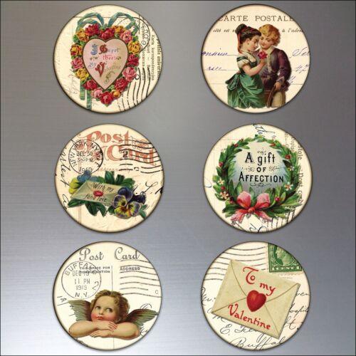 fridge magnets Valentines vintage Victorian love postcards round large set of 6