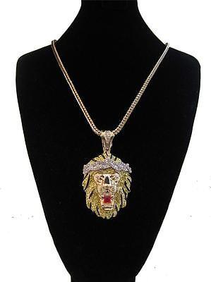 MENS ICED OUT BIG SEAN LION KING PENDANT GOLD FRANCO CHAIN NECKLACE HIP HOP RAP
