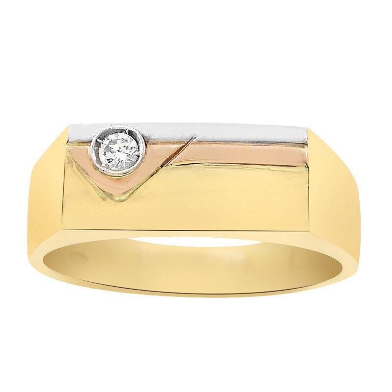0.10 Carat Round Cut CZ Men's Signet Ring 18K Yellow gold