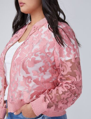 Plus 20 rosa pizzo Sz in Lane 18 Bomber New Bryant Size FpPTqC