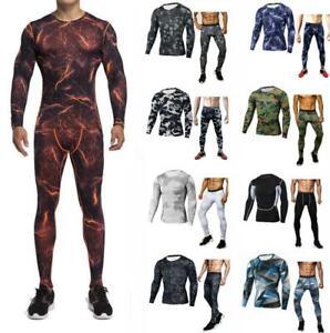 Traje-De-Hombre-Workout-Gym-Deporte-De-Compresion-Capa-Base-Ajustado-Camisetas-Pantalones-largos