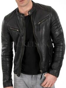 New-Men-039-s-Genuine-Lambskin-Leather-Jacket-Black-Slim-fit-Biker-jacket-B54