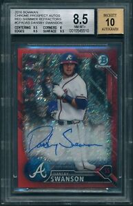 2016 Bowman Chrome DANSBY SWANSON Red S.Refractor /10 AUTO ROOKIE BGS 8.5 [BBE]