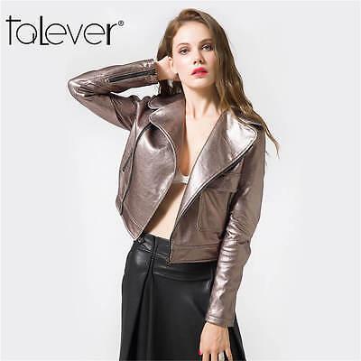 Womens PU Leather Motorcycle Jackets Metal Shiny Punk Biker Coats Zipper Outwear