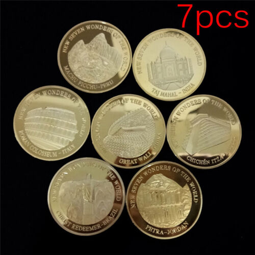 7pcs Seven Wonders of the World Gold Coins Set Commemorative Coin Collection LB$