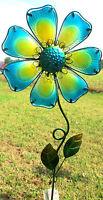 Flower Yard Stake Blue Lawn / Garden Decor Metal & Glass