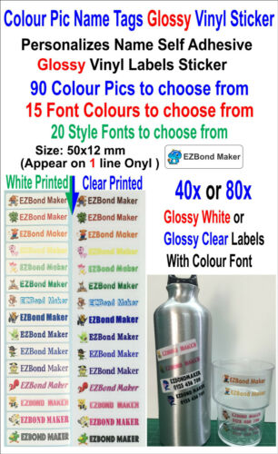 40x or 80x Colour Pics Personalised Name *Glossy* Vinyl Label Stickers